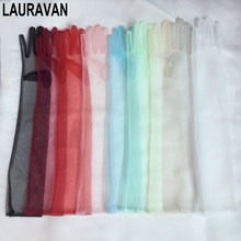 Luvas femininas transparentes, acessórios de casamento 55cm, transparentes, preto marfim, vermelho, rosa, longo, com tule, para mulheres, verão 2020