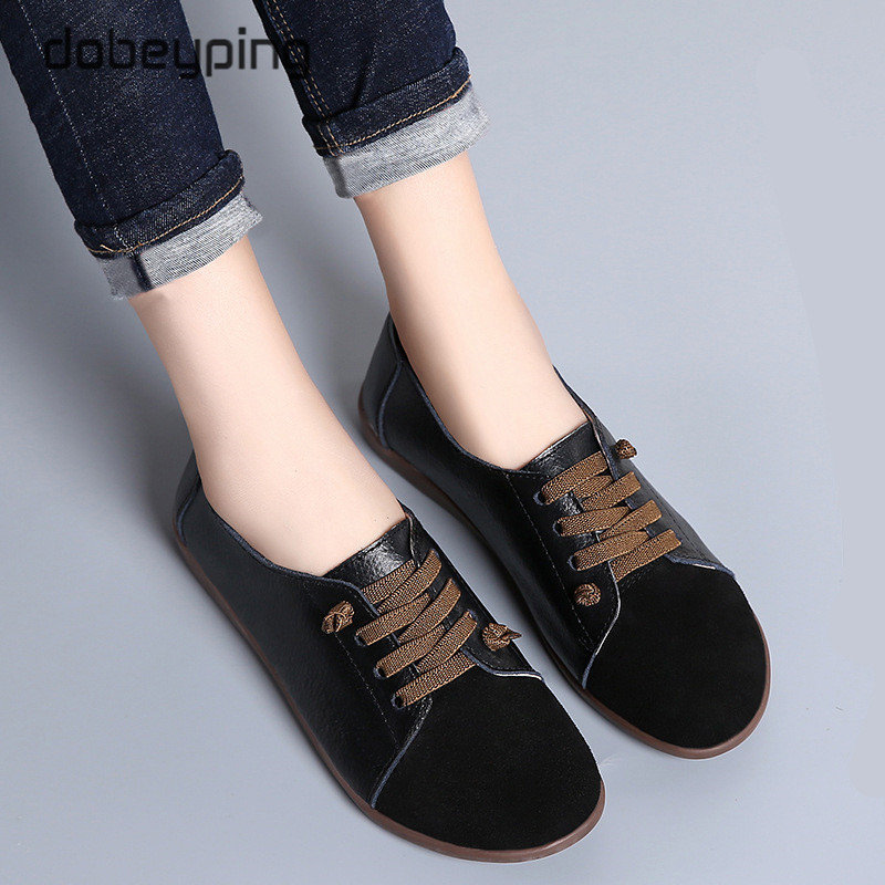 New Spring Autumn Shoes Woman Genuine Leather Women Flats Slip On Women Loafers Moccasins Female Shoe Plus Size 35-44