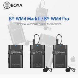 Boya BY-WM4 Pro/BY-WM4 Mark II Wireless Studio Condenser Microphone Lavalier Lapel Interview Mic for iPhone Canon Nikon Cameras