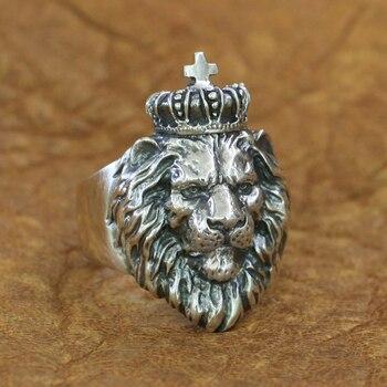 Lion King Ring 925 Sterling Silver Mens Biker Punk Animal Ring TA190 US Size 7~15