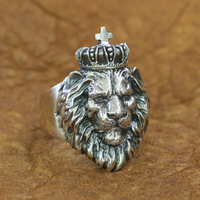 Lion King Ring 925 Sterling Silver Mens Biker Punk Animal Ring TA190 US Size 7~15