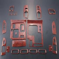 For Toyota Land cruiser 4500 4700 LC100 19PCS Peach Wood ABS Chrome Car Interior Side Door Body Cover Trim Molding Accessories