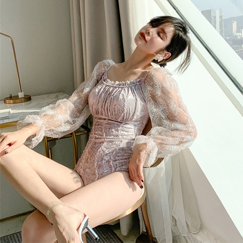 Swimming Suit Bathing Suits One Peice Swimsuit Women Piece May Women's Velvet Slim Push Up Long Sleeve Solid Spandex Sierra