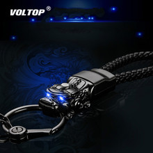 LED Light Chinese Brave Troops Keychain Car Accessories Key Ring Holder Retro Metal Braided Leather Rope Gift цена