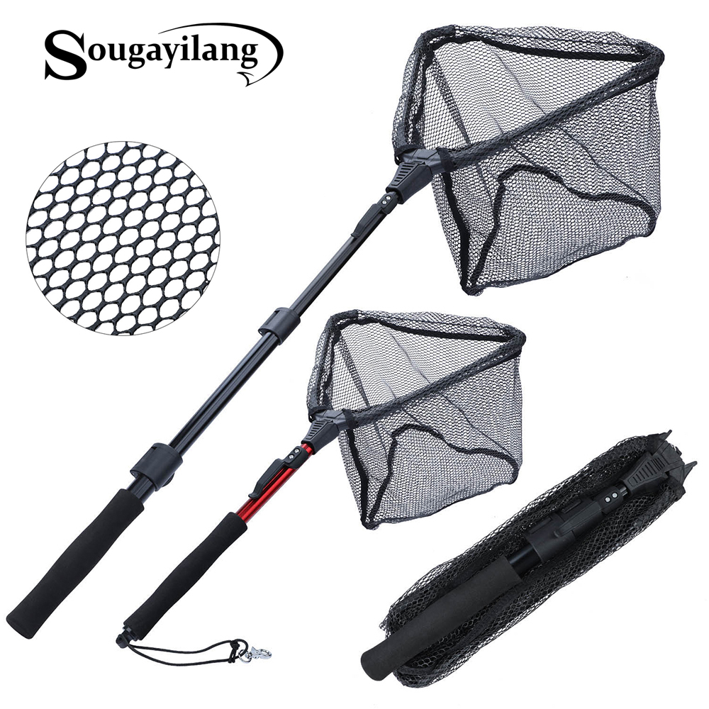 Выдвижная рыболовная сеть Sougayilang, телескопическая складная посадочная сеть, 70/95/120 см, для ловли нахлыстом