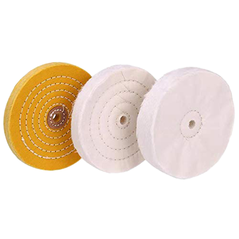 3-Piece 6-Inch Mirror Polishing Wheel Set Cotton Wheel for Bench Grinder Tools with 1/2 Inch Arbor Hole