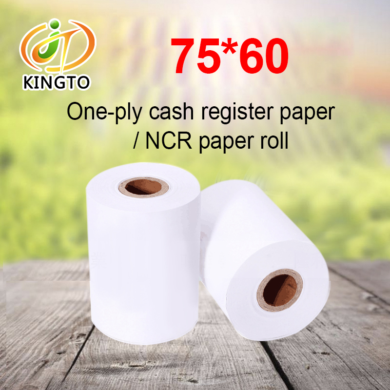 Cheap Price 75*60mm 1 Ply NCR Carbonless Paper Roll Cash Register Paper