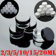 Frascos cosméticos claros de plástico vacíos, 10 Uds., 2g/3g/5g/10g/15g/20g, contenedor de maquillaje, botella de loción, frascos de muestra de crema facial, caja de Gel