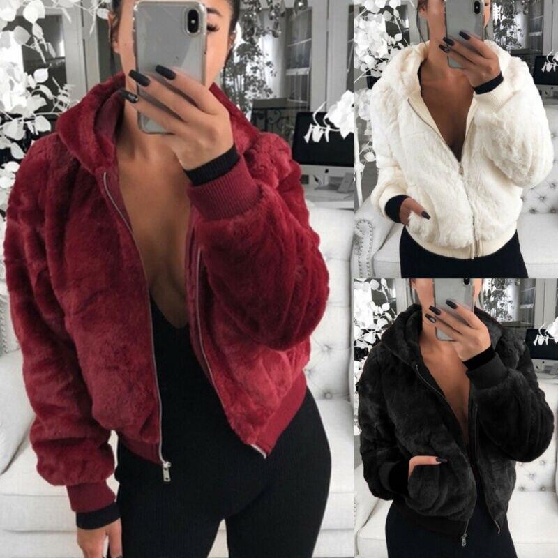 Женская одежда с длинным рукавом, тонкий карман на молнии, короткая одежда, пушистое Укороченное пальто, куртки из искусственного меха, зимн...