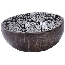 Natural Coconut Shell Bowl Dishes Handmade Paint Vintage Craft Decoration, Black #11(China)