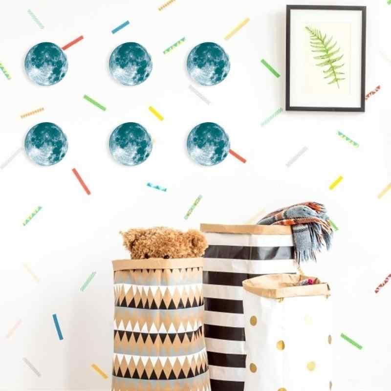 1 sztuk Super świecący księżyc planeta naklejka ścienna dla dzieci sypialnia pokój naklejka dekoracyjna 3D dekoracje ścienne kreatywne naklejki wodoodporne