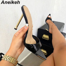 Ladies Shoes Mule Botines Strappy Women's Pumps Snake-Print Pointed-Toe High-Heels Aneikeh