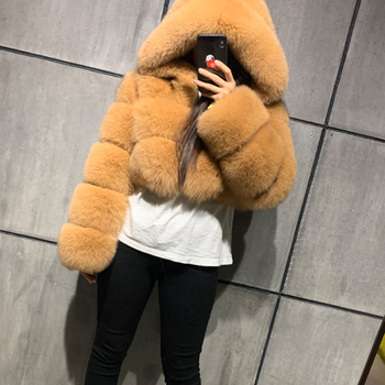 Winter Warm Fluffy Faux Fur Coats Jackets Women High Quality Fake Fur Cropped Jackets With Hooded Winter Fur Jacket faux fur lined belted jacket