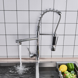 Image 4 - クローム仕上げデュアルスパウトキッチンのシンクの蛇口デッキマウント春キッチンミキサータップキッチン温水と冷水タップ