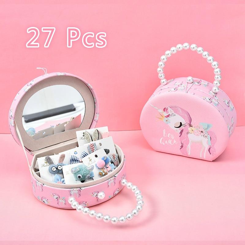 27Pcs/Set Children Cute Colors Crown Rabbit Bow Ornament Hair Clips Girls Lovely Sweet Hairpins Barrettes Kids Hair Accessories