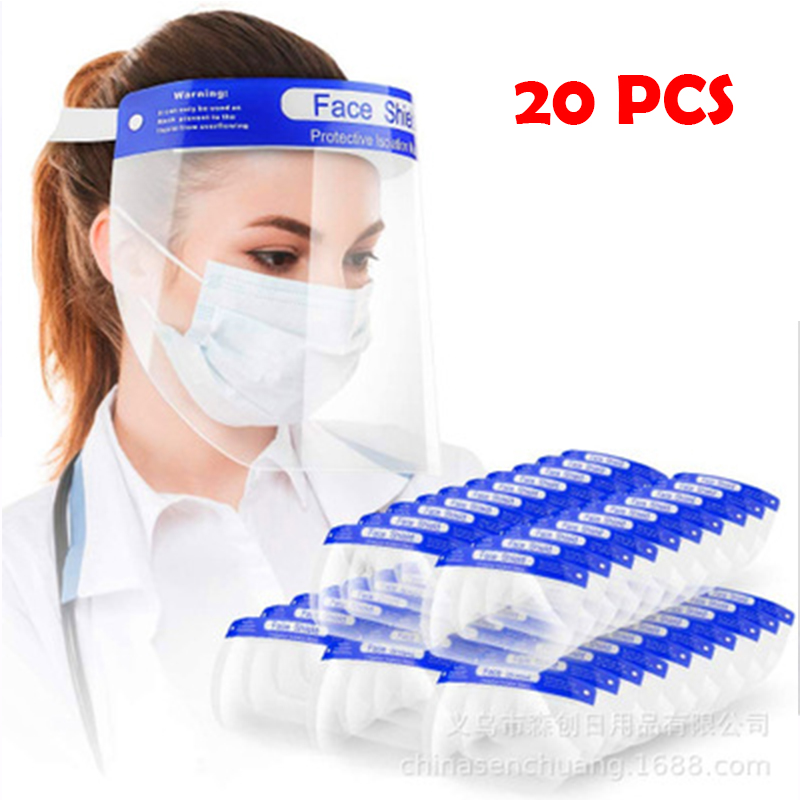 20 Pcs Dental Face Shield Anti Droplet Dust-proof Protect Face Covering Mask Safety Protection Visor Shield Stop The Flying Spit