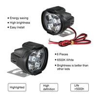 Hot 2pcs Universal  6000K LED Motorcycle Headlight Mirror Mount Driving Fog Spot Head Light Spotlight Assist Lamp| |   -