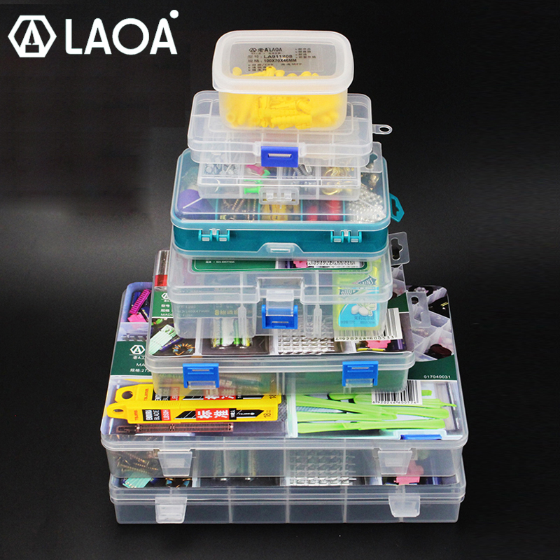 LAOA Screw Storage Box Transparent Plastic Boxes Small Parts Storage Box Household Collection Box