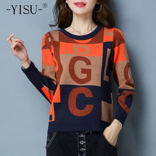 Women Sweaters Tops Jumper Pullover Letter O-Neck Knitted Long-Sleeve Loose Winter Warm