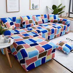 PY21 Elastic SofaCover Cotton It Needs Order 2 Pieces Covers for L-shape Corner Sectional Sofa Cover for Living Room Solid Color