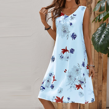 Summer Women Floral Casual Dress Plus Size Sleeveless V Neck Elegant Dresses For Women Clothing Vestidos Mujer Verano Autumn Beach Casual Dresses Elegant Dresses Evening Mini Party Print Dresses Sexy Sleeveless Slim Spring Summer V Neck Women Color: Blue Size: S