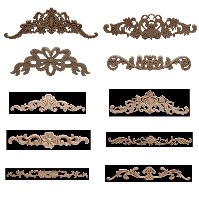 Onlay Wood Mouldings Wood Applique Wood Decal Carved Unpainted Modern Long Large Leaves Flower Rubber Wood  Corner Furniture NEW