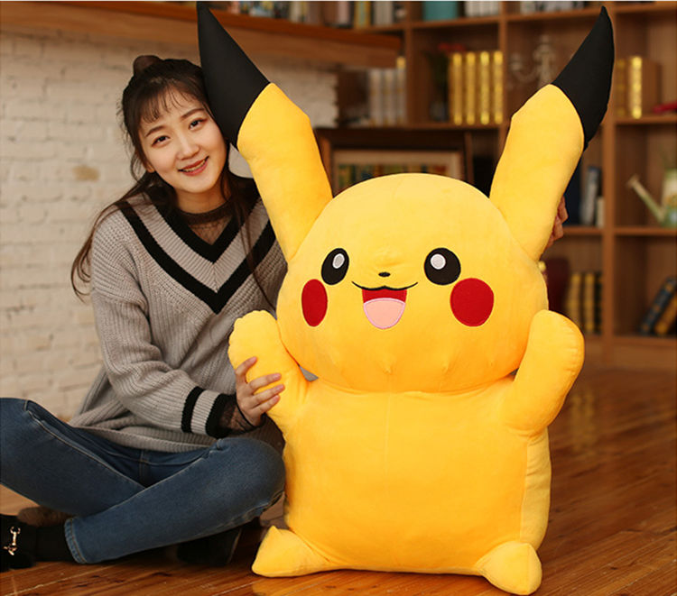[Funny] Large Size 120cm Anime Pikachu Plush Toy Soft Cotton Doll Model Only Cover(No Filling) With Zipper Kids Child Gift