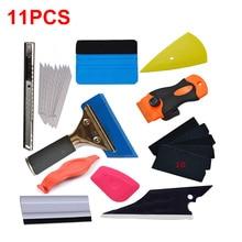 11pcs Vinyl Film Car Accessories Wrap Tools Carbon Sticker Installing Rubber Scraper Cut Knife Kit Window Tint Magnet Squeegee