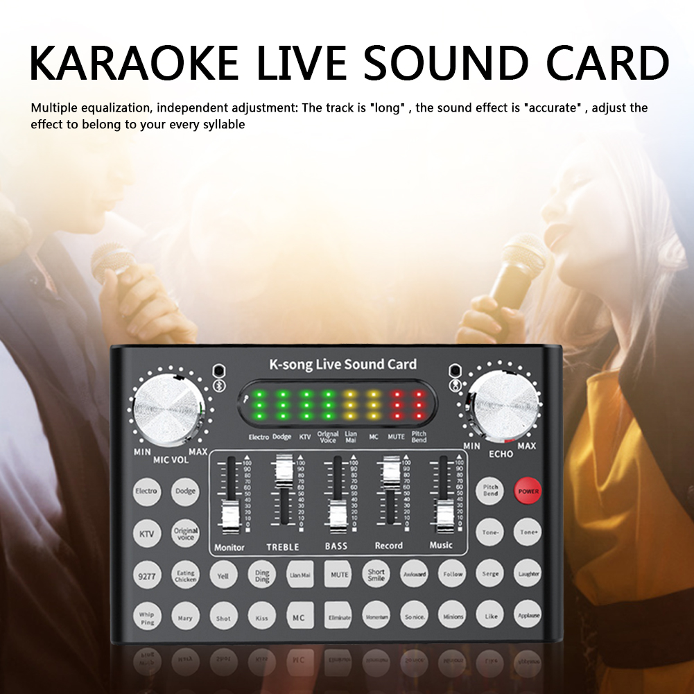 Headset Microphone Live Broadcast Classic Texture Bluetooth Multi-functional Webcast Portable Sound Card for Computer 4