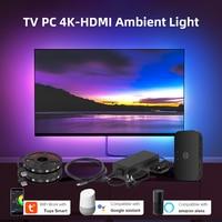 TV PC Hintergrundbeleuchtung Kit 4K-HDMI Monitor Wifi Alexa Stimme Google Assistent Control HDTV Bildschirm Led-leuchten Umgebungs Traum Zurück Beleuchtung