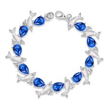 Charm Dolphin Water Droplets Blue Crystal Bracelets for Women Fashion Jewelry Lobster Copper Alloy Best Friend Gifts