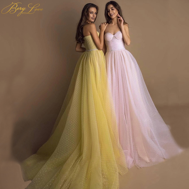 BeryLove Bright Yellow Prom Dress 2019 Pink Dot Tulle A-line Long Party Dress Formal  Latter Sleeves Elegant Dresses Vestido 2