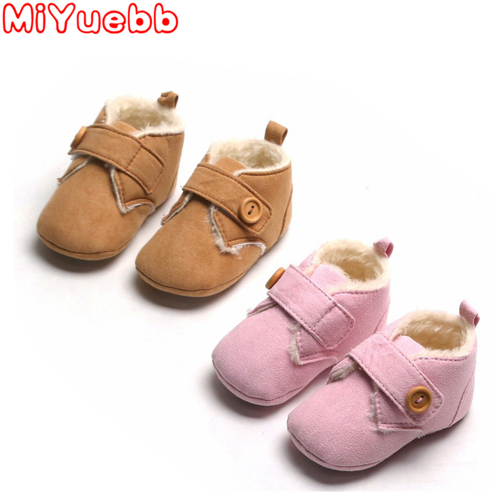 Casual Kids Shoes Children Button Decoration PU Material Paste Method Casual Cotton Sneakers Winter New Baby Girls & Boys Shoes