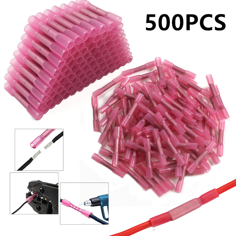 500/1000PCS Red Heat Shrink Connectors Insulated Waterproof Crimp Terminals Seal Butt  Electrical Wire Connector 22-18 AWG