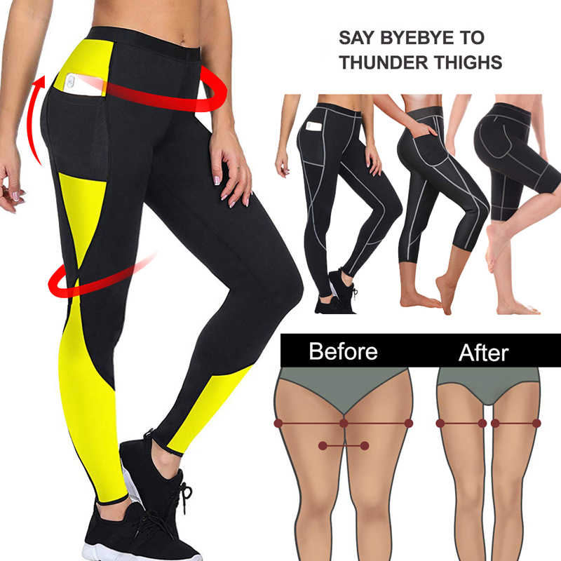 2019 frauen Sauna Gewicht Verlust Abnehmen Hosen Mit Seite Tasche Heißer Thermo Schweiß Leggings Fitness Workout Körper Shaper Sporting Hose