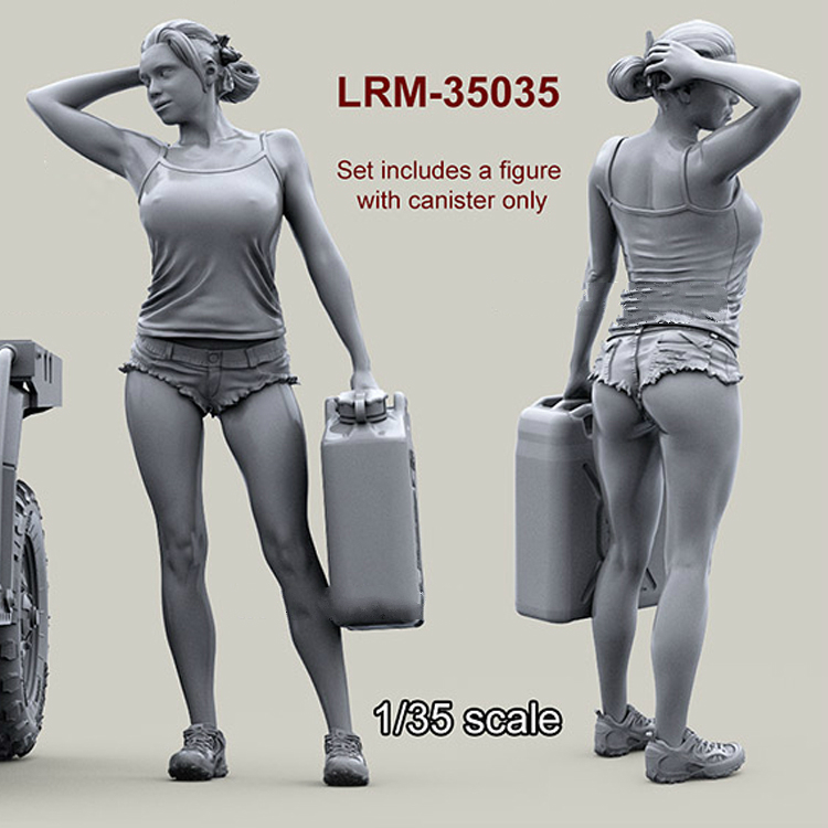 1/35 resin model figures girl with fuel tank unpainted 463G