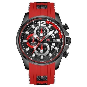 MINI FOCUS Fashion Men's Watches Top Brand Luxury Quartz Waterproof Sports Clock Wristwatch Relogio Masculino Red Silicone Strap 2