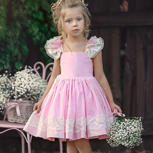 Girls Cotton Dress Lace European and American Style Frocks Princess A-Line Girl Costume  Solid