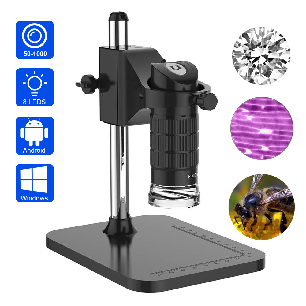 USB Digital Microscope Magnification Camera For Phone Handheld Microscope Camera With 1000x Zoom Built-in 8 LED Lights