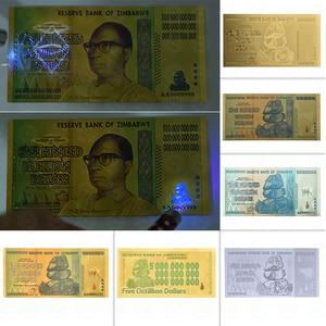 Wholesale 100 Trillion/Quintillion Dollars Zimbabwe Banknotes 24K Gold Foil Replica Banknote Bill Fake Paper Money Business Gift(China)