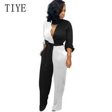 TIYE V Neck Long Sleeve Button Pocket Clothing Women Elegant Work Patchwork Jumpsuits Casual Femme Playsuits with Belt