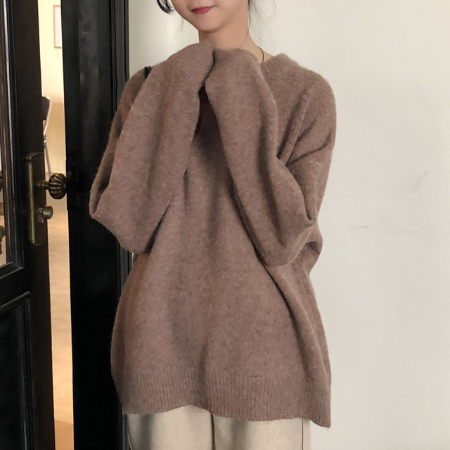 Ailegogo New Women Classic Knitted Pullovers Casual Female Sweater Loose Fit Outwear Retro Fashion Knitwear Ladies Outwear 4