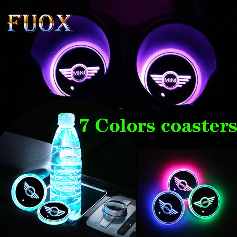 New Pattern 2PCS Car LED Light Lamp Cup Holder Mat Pad Bottle Built-in Car Styling For Mini COOPER S R50 R53 R56 R60 F55 F56 R57