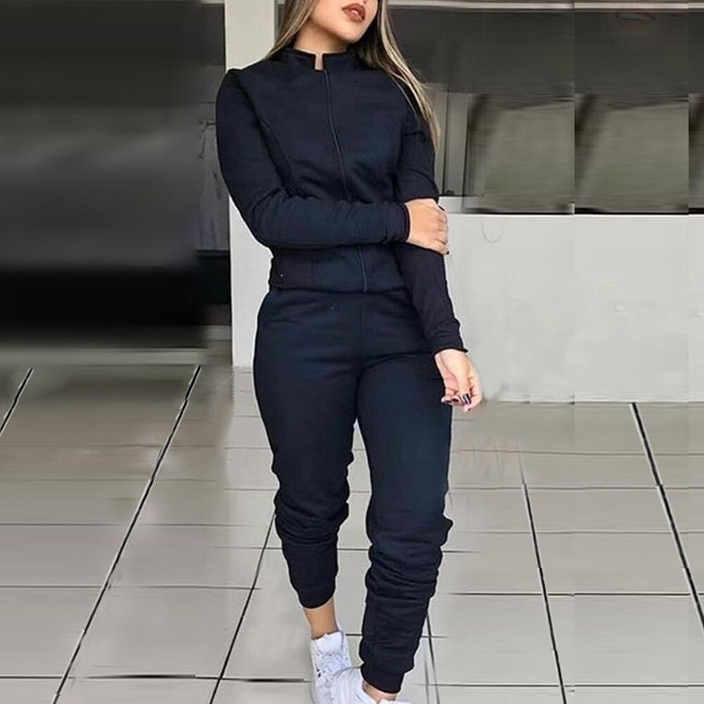 Sfit Female Fashion Solid Color Suit Women Sports Tracksuit 2 Piece Set Long Sleeve Jacket And Elastic Waist Pants Suits
