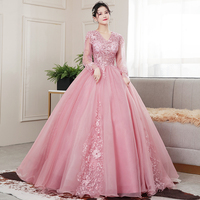 Quinceanera Dress 2020 Party Prom Full Sleeve Sexy V neck Ball Gown Luxury Lace Vintage Quinceanera Dresses Vestidos Robe De Bal