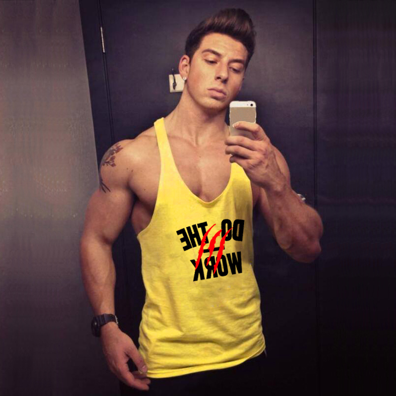 Brand Bodybuilding Clothing Fitness Mens Muscle Vest Summer Letters Print Sleeveless Shirt Gyms Stringer Tank Top Men Tanktop