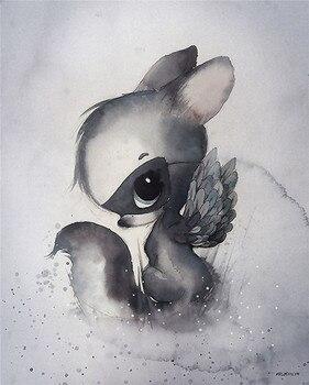 Mural de duende conejo de dibujos animados bonito, arte de pared para habitación de niños, cuadro de lienzo decorativo estampados pared, imágenes para sala de estar