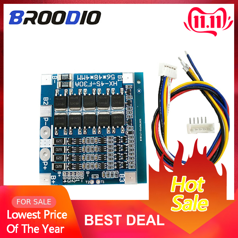 4S 30A BMS 14.8V 12.8V 18650 Lithium Battery Protection Board With Balanced LiFePO4 BMS Lto Balancer Li-ion Equalizer Board
