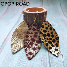 Cpop Leaf Western Cowhide Leather Earrings Hair on Animal Print Leopard Leather Earrings Feather Tassel Geo Statement Jewelry geo embroidery tassel detail blouse
