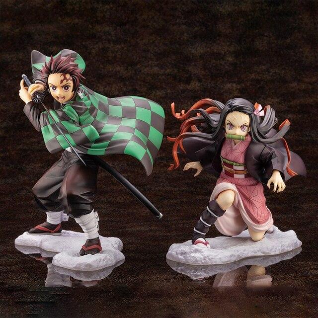 Iblis avcısı Kimetsu hiçbir Yaiba Artfx J Nezuko Kamado Tanjiro Kamad PVC Action Figure Anime şekilli kalıp oyuncak koleksiyonu bebek hediye